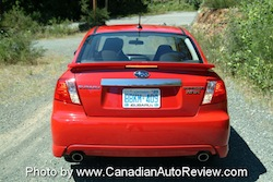 2008 Subaru Impreza WRX Red rear sedan