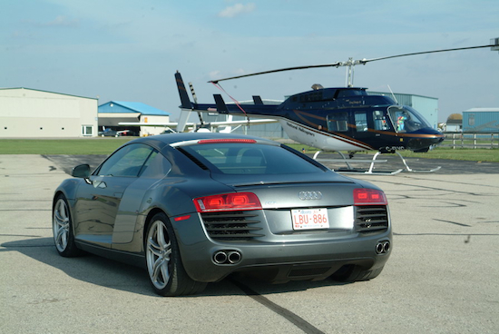 2009 Audi R8 Gray with helicopter rear