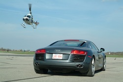 2009 Audi R8 Gray with helicopter
