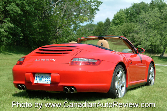2009 Porsche 911 4S Cabriolet Red rear exhaust top down