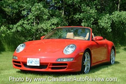2009 Porsche 911 4S Cabriolet Red top down