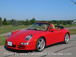 2009 Porsche 911 4S Cabriolet Red front top down