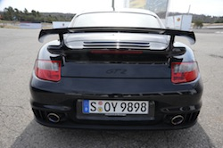 2009 Porsche 911 GT2 Black rear exhaust spoiler