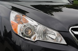 2010 Subaru Legacy 3.6R Black front headlights