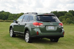 2010 Subaru Outback PZE Green rear