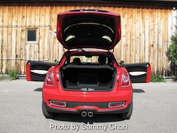 2012 Mini Cooper Coupe S Red rear trunk and doors open