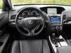 2013 Acura RLX Silver interior dashboard with steering wheel