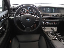 2013 BMW Activehybrid 5 Black interior dashboard with steering wheel