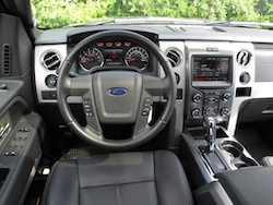 2013 Ford F150 FX4 Supercrew Ecoboost interior dashboard with steering wheel