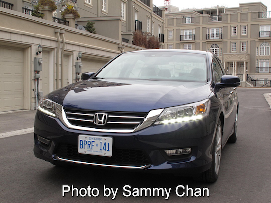 2013 Honda Accord V6 Touring Blue front view with headlights on