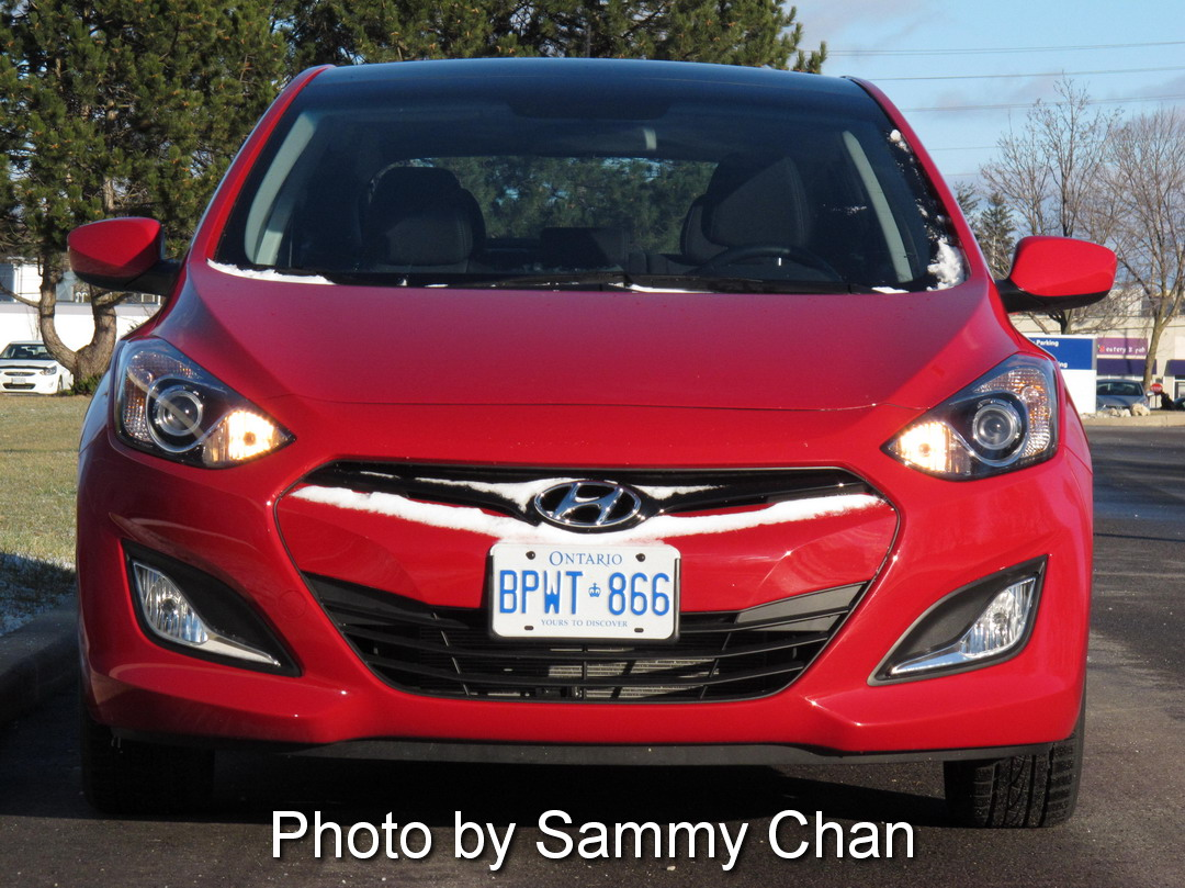 2013 Hyundai Elantra GT Red front view snow mustache