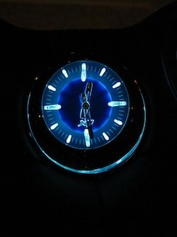 2013 Jaguar XJ 3.0L AWD Black interior clock at night lit up