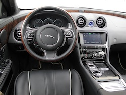 2013 Jaguar XJ 3.0L AWD Black interior dashboard with steering wheel