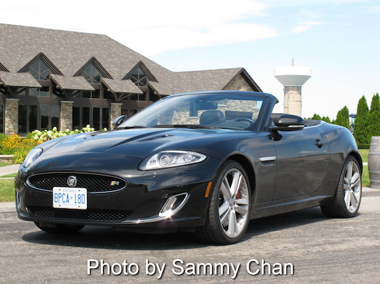 2013 Jaguar XKR Convertible Black front view in niagara falls wine field orchard