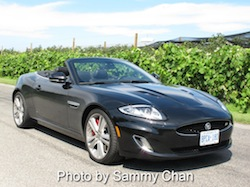 2013 Jaguar XKR Convertible Black front side view in wine orchard