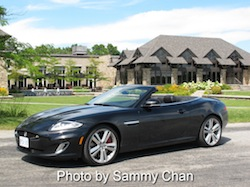 2013 Jaguar XKR Convertible Black side view in wine orchard niagara falls