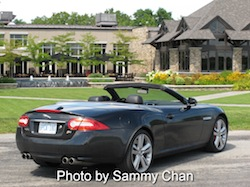 2013 Jaguar XKR Convertible Black rear side view in niagara falls wine orchard