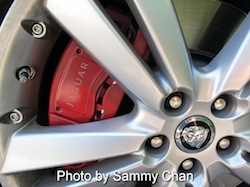 2013 Jaguar XKR Convertible Black wheel closeup with rims and red calipers