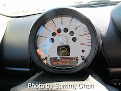 2013 Mini Cooper S Paceman ALL4 Black tachometer attached to steering wheel