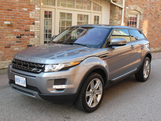 2013 Range Rover Evoque Coupe Metal Gray front side view on markham main street