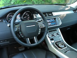 2013 Range Rover Evoque Coupe Metal Gray interior dashboard steering wheel focused
