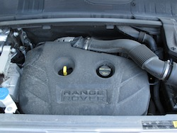 2013 Range Rover Evoque Coupe Metal Gray engine bay four cylinder