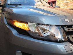 2013 Range Rover Evoque Coupe Metal Gray front headlights on