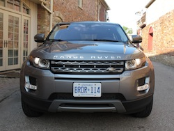 2013 Range Rover Evoque Coupe Metal Gray front view of grille and headlights