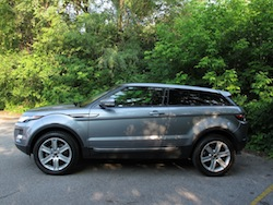 2013 Range Rover Evoque Coupe Metal Gray side view trees