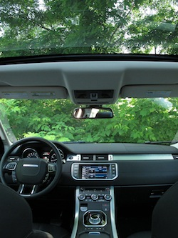 2013 Range Rover Evoque Coupe Metal Gray interior dashboard with panoramic roof