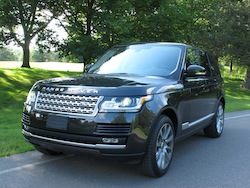 2013 Range Rover V8 Supercharged Black front side view in shadows