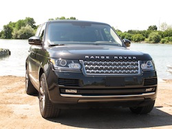 2013 Range Rover V8 Supercharged Black front view on the beach lake