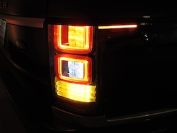 2013 Range Rover V8 Supercharged Black rear taillights in the dark