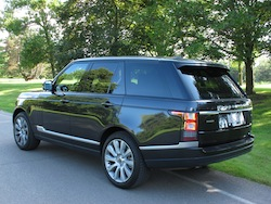 2013 Range Rover V8 Supercharged Black rear side view in shadows