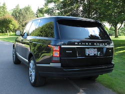 2013 Range Rover V8 Supercharged Black rear view with red license plate