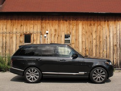 2013 Range Rover V8 Supercharged Black side view lowered suspension