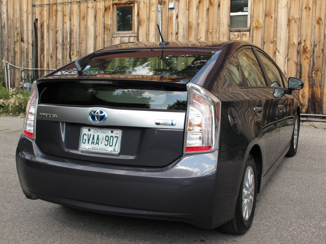 2013 Toyota Prius Plugin Hybrid Gray rear side view taillights on
