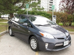 2013 Toyota Prius Plugin Hybrid Gray front side view in front of charging station