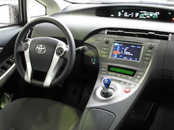 2013 Toyota Prius Plugin Hybrid Gray interior dashboard with steering wheel and controls