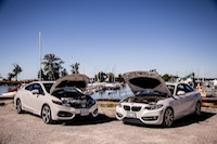 BMW 228i Honda Civic Si White engine covers open turbo