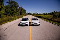 BMW 228i Honda Civic Si White drag strip racing