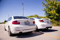 BMW 228i Honda Civic Si White rear exhausts