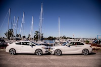 BMW 228i Honda Civic Si White side view ajax port