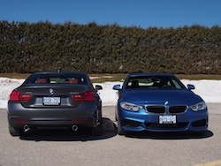 2014 BMW 435i xDrive Estoril Blue Metallic Gray front and rear