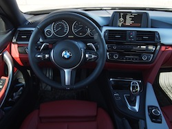 2014 BMW 435i xDrive Estoril Blue Metallic Gray interior dashboard shot coral red automatic transmission