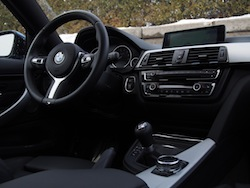 2014 BMW 435i xDrive Estoril Blue Metallic Gray black interior down up shot with manual transmission