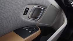 2014 BMW i3 Capparis White Lodge door handle and controls