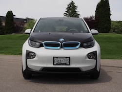 2014 BMW i3 Capparis White full front view kidney grills