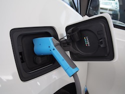 2014 BMW i3 Capparis White plugged in and charging