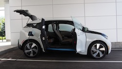2014 BMW i3 Capparis White side view everything open
